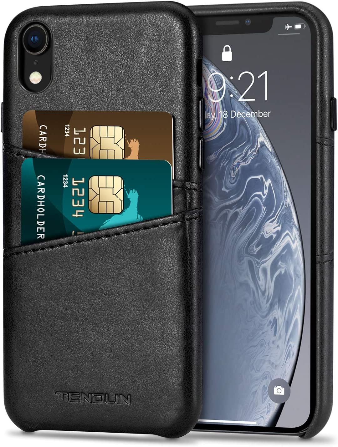 TENDLIN Compatible with iPhone XR Case Wallet Design Premium Leather Case with 2 Card Holder Slots Compatible with iPhone XR (Black)