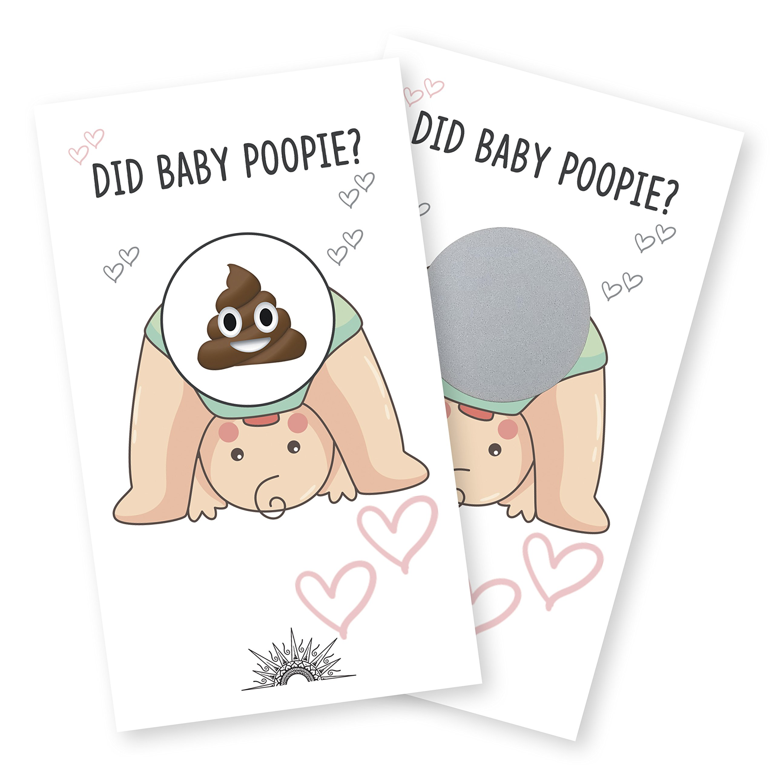 24 Baby Shower Poop Emoji Scratch Off Lottery Ticket Raffle