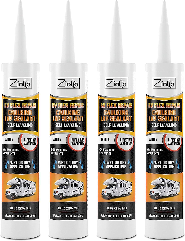 Ziollo RV Flex Repair Caulking Lap Sealant - Self Leveling EPDM Sealant for Rubber Roofs on Motorhomes, Trailers, Campers (White, 4-10 oz Tubes of RV Caulk)
