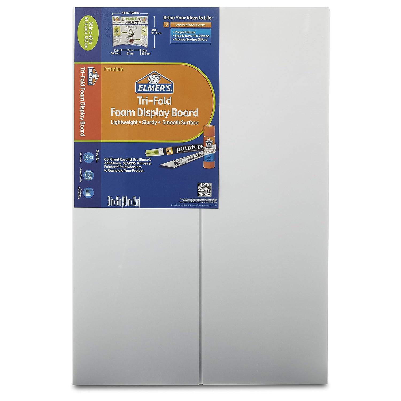 Elmer's Tri-Fold Premium Foam Display Board, White, 36x48 Inch (Pack of 12) Elmers 902090