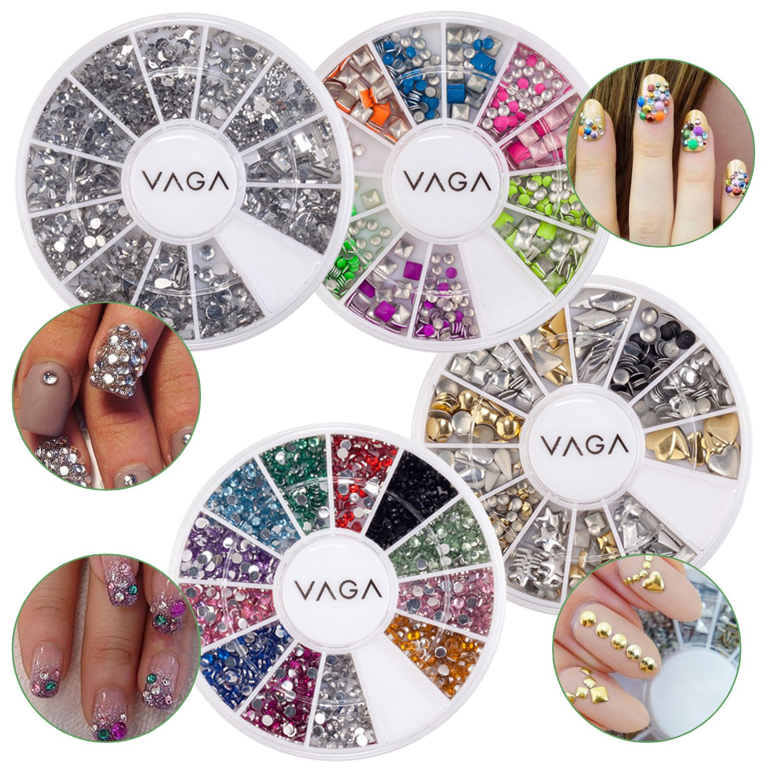 Great Value And Quality Professional Nail Art 3D Decorations Set With Dazzling Golden And Silver Rivet Style Metal Studs, Colourful Glowing Neon Studs In 2 Shapes And Wheel With Mixed Colours Rhinestones / Crystals / Gemstones By VAGA