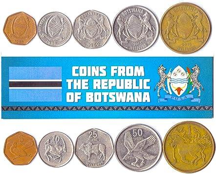 5 Monedas Diferentes - Moneda extranjera de Botswanan Antigua y Coleccionable para coleccionar Libros - Conjuntos de Dinero únicos y mundiales - Regalos para coleccionistas: Amazon.es: Juguetes y juegos