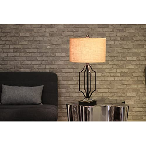 IDS Home Modern Matt Black Gold Highlight Table Lamp with Clear Crystal Base And Linen Shade