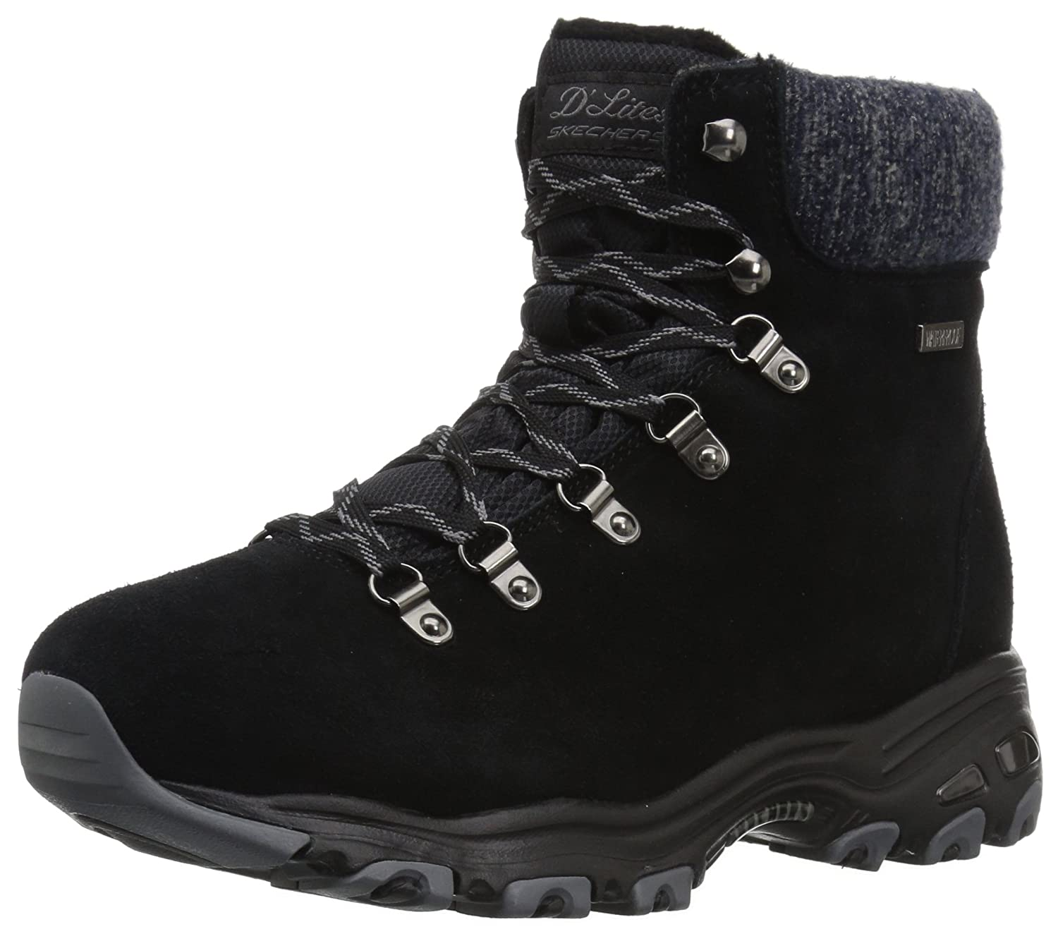 Skechers Women's D'Lites-Short Lace up Winter Boot B01MYENHY0 10 B(M) US|Black