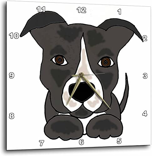3dRose Funny Grey Pitbull Puppy Dog Cartoon – Wall Clock, 15 by 15-Inch DPP_201801_3
