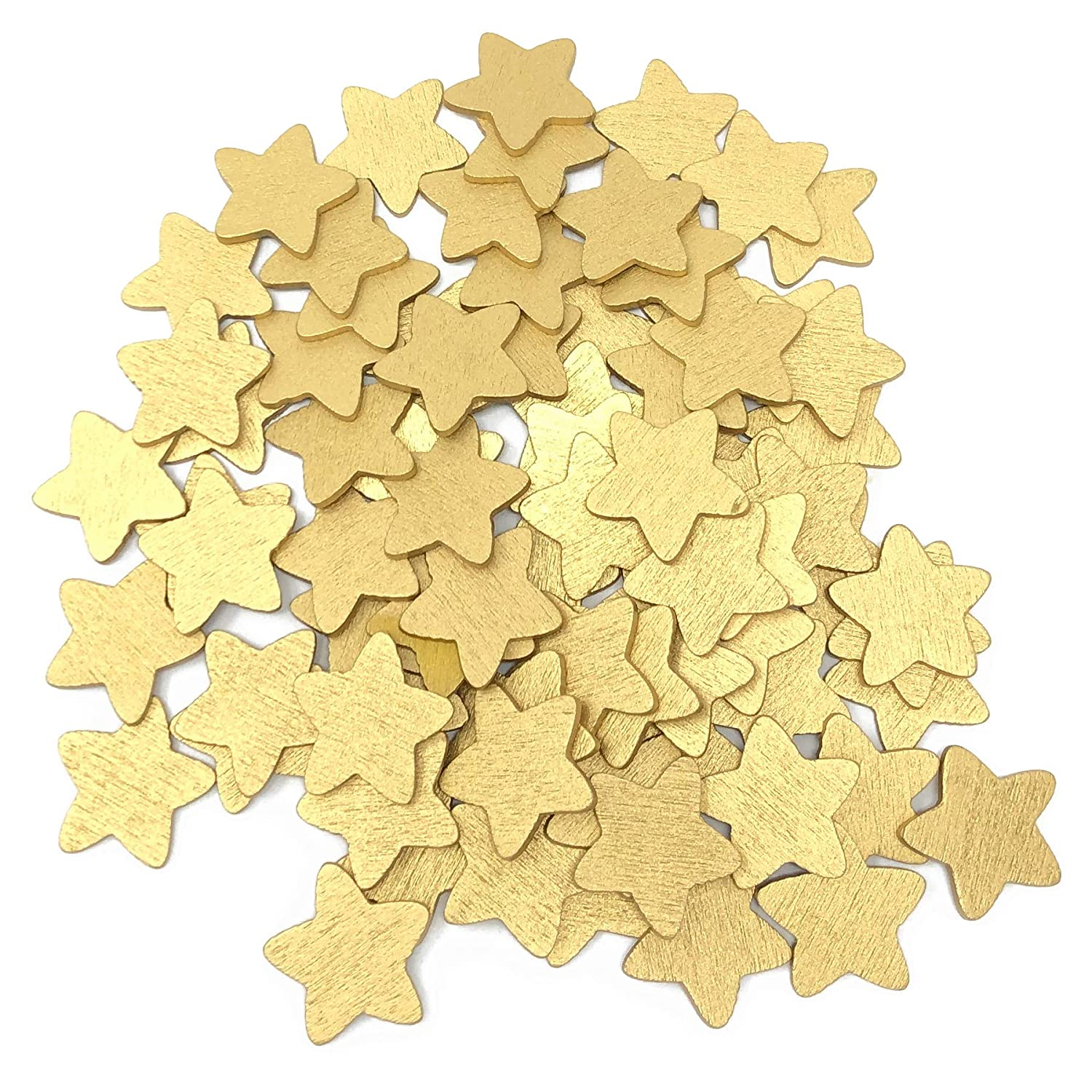 50pcs Gold 18mm Stars Wooden Shabby Chic Craft Scrapbook Vintage Wood Star Wedding Touches