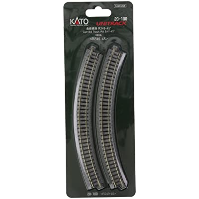 "Kato USA Model Train Products Unitrack, 249mm (9 3/4"") Radius 45-Degree Curve Track (4-Piece): Toys & Games"
