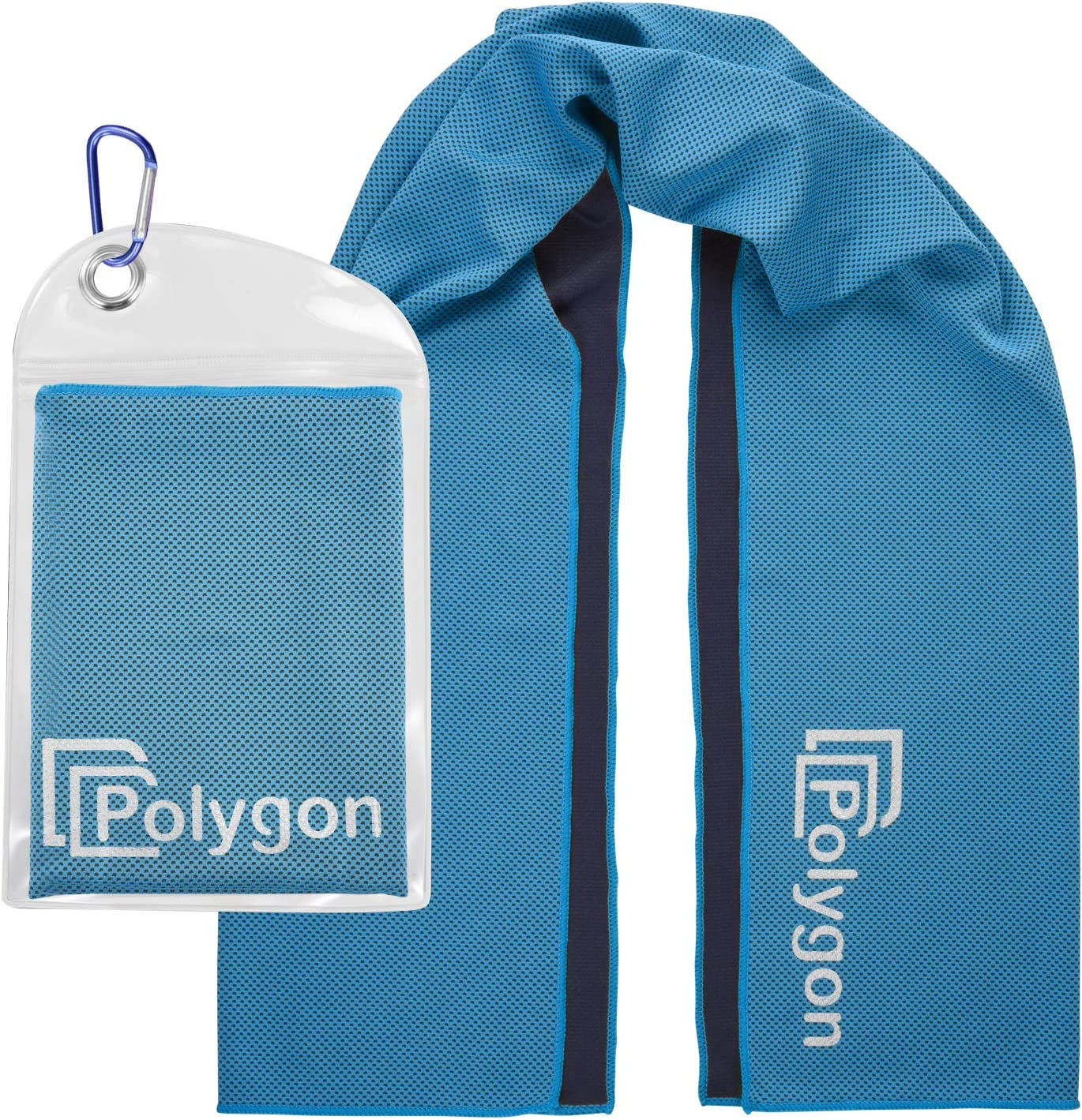 """Polygon Cooling Towel, Microfiber Ice Sports Towel, Instant Chilling Neck Wrap for Sports, Workout, Running, Hiking, Fitness, Gym, Yoga, Pilates, Travel, Camping, 40"""" x 12"""""""
