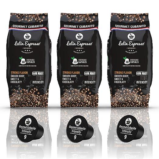 Roastesso - 30 Pods - Gourmet Cubanito - Nespresso Compatible Capsules - High Intensity Ristretto - Dark Roast Espresso - Alternative to Cafecito de Cuba - Fit All OriginalLine Coffee Machine