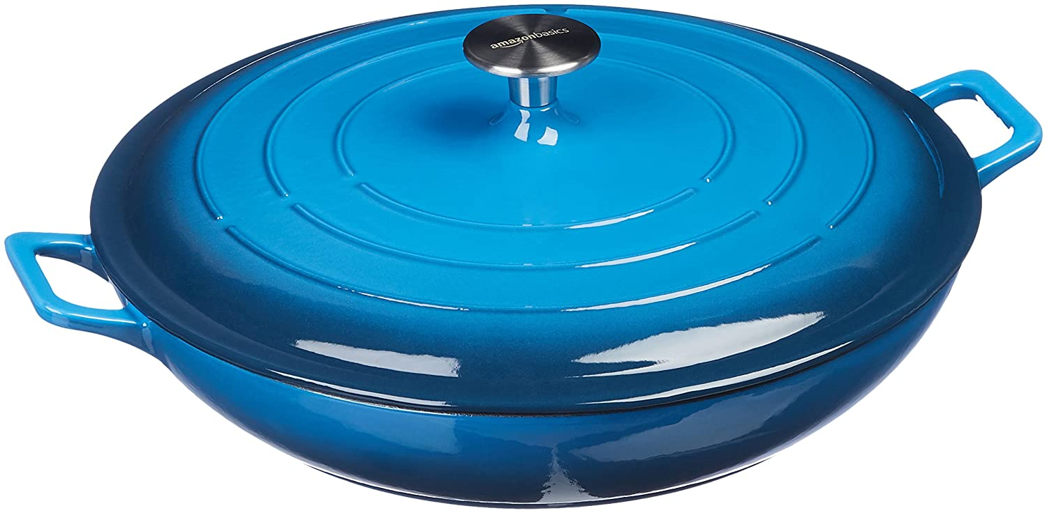 AmazonBasics Enameled Cast Iron Covered Casserole - 3.3-Quart, Blue