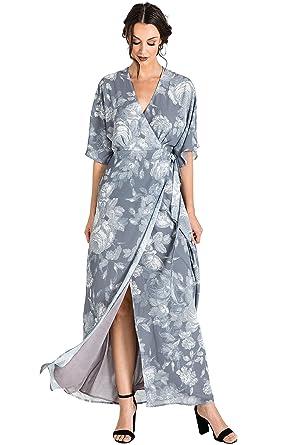 69746a4b254 Standards   Practices Modern Women s Floral Woven Chiffon Kimono Wrap Maxi  Dress Size XS Grey
