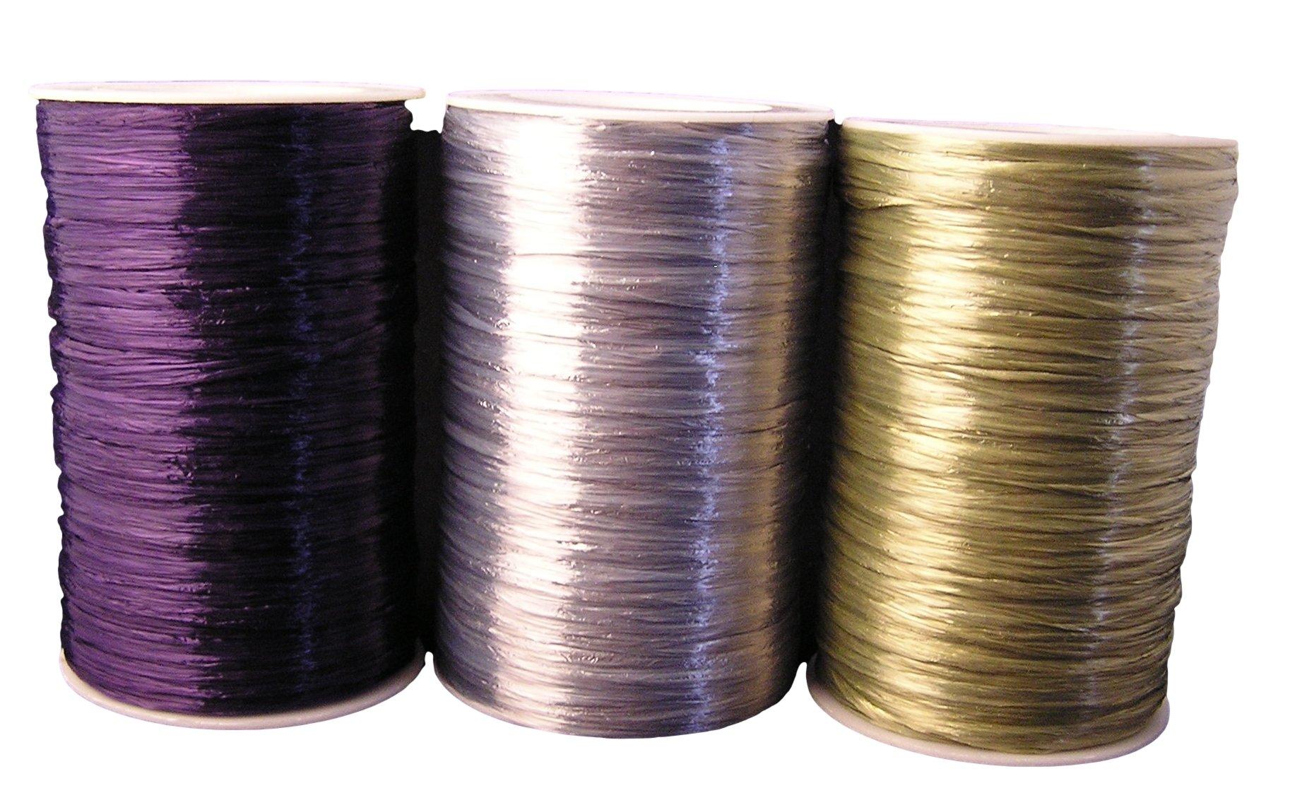 Plum, Champagne, Silver Metallic Pearlized Raffia Ribbon, 1/4'' X 100 Yards (1 Spool of Each Color) Bundle by Kraft Klassics
