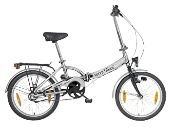 "Terrabikes - Bicicleta plegable de 3 velocidades, rueda de 20"", color plateado"