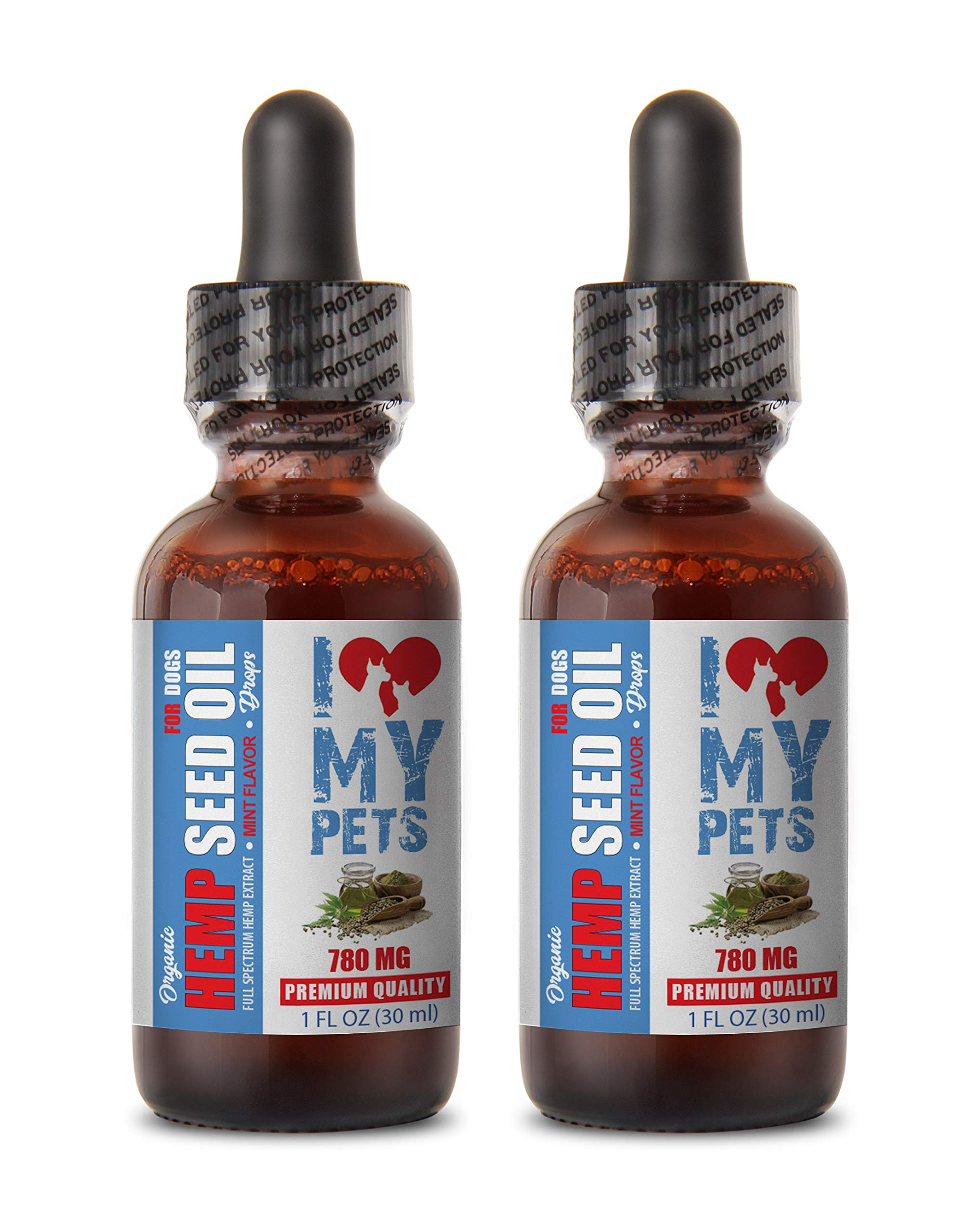I LOVE MY PETS LLC Dog Stress and Anxiety Relief - Dog Hemp Seed Oil Drops - Relaxing Flavor - Omega 3 6 9 Fatty ACIDS - Full Health Control - Dog Hemp Hip - 2 Bottles (60 ML) by I LOVE MY PETS LLC