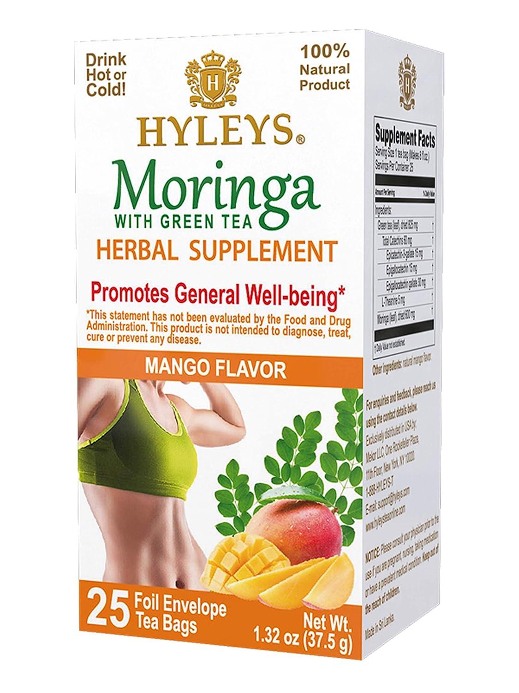 12 Pack of Hyleys Wellness Moringa Oleifera Green Tea Mango - 25 Tea Bags (100% Natural, Sugar Free, Gluten Free and Non-GMO)
