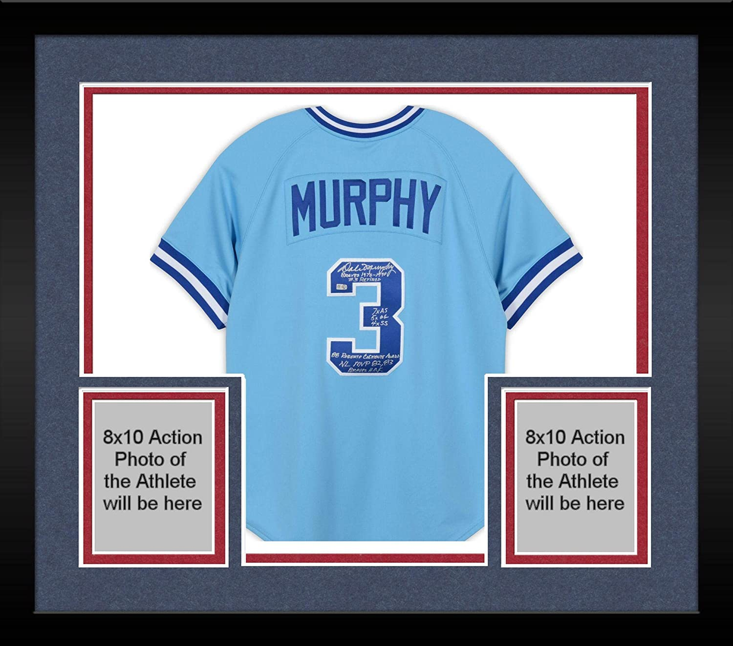 37b8f2b3a Framed Dale Murphy Atlanta Braves Autographed Mitchell and Ness Powder Blue  Authentic Jersey with Multiple Inscriptions -  3 Limited Edition of 12 ...