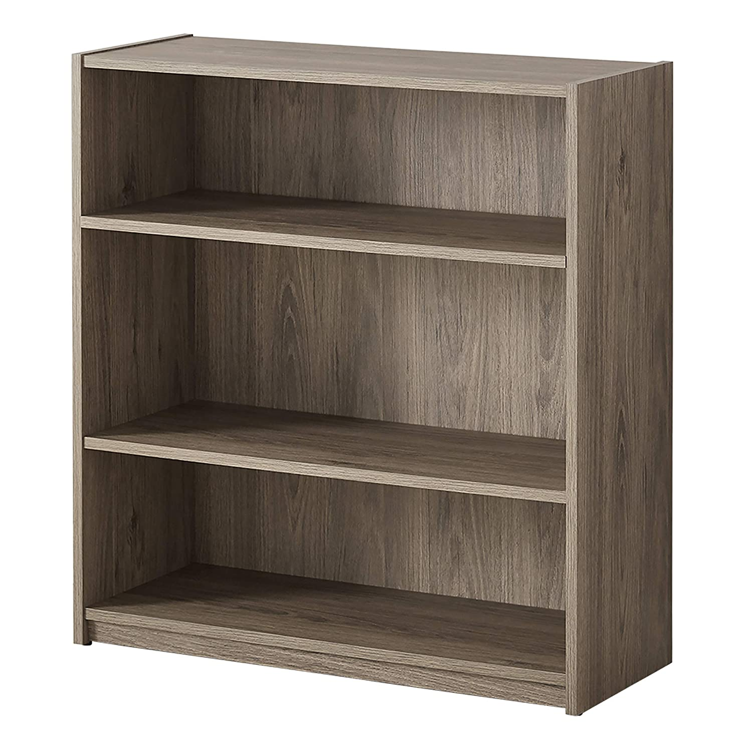 Mainstay Easy To Assemble Contemporary Style 3 Shelf Wood Bookcase Multiple Colors Rustic Oak