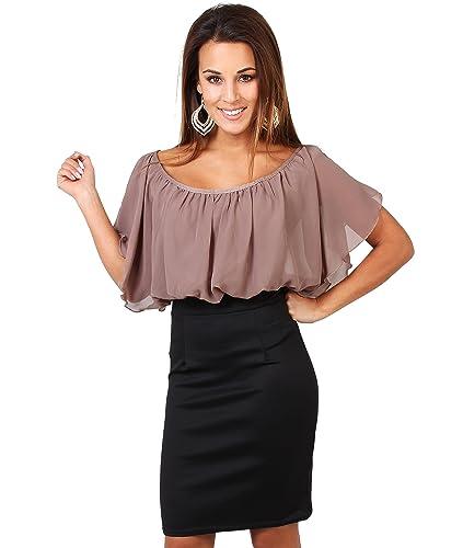 KRISP Womens Chiffon Blouse Sexy Bodycon Business Dress Pencil Skirt