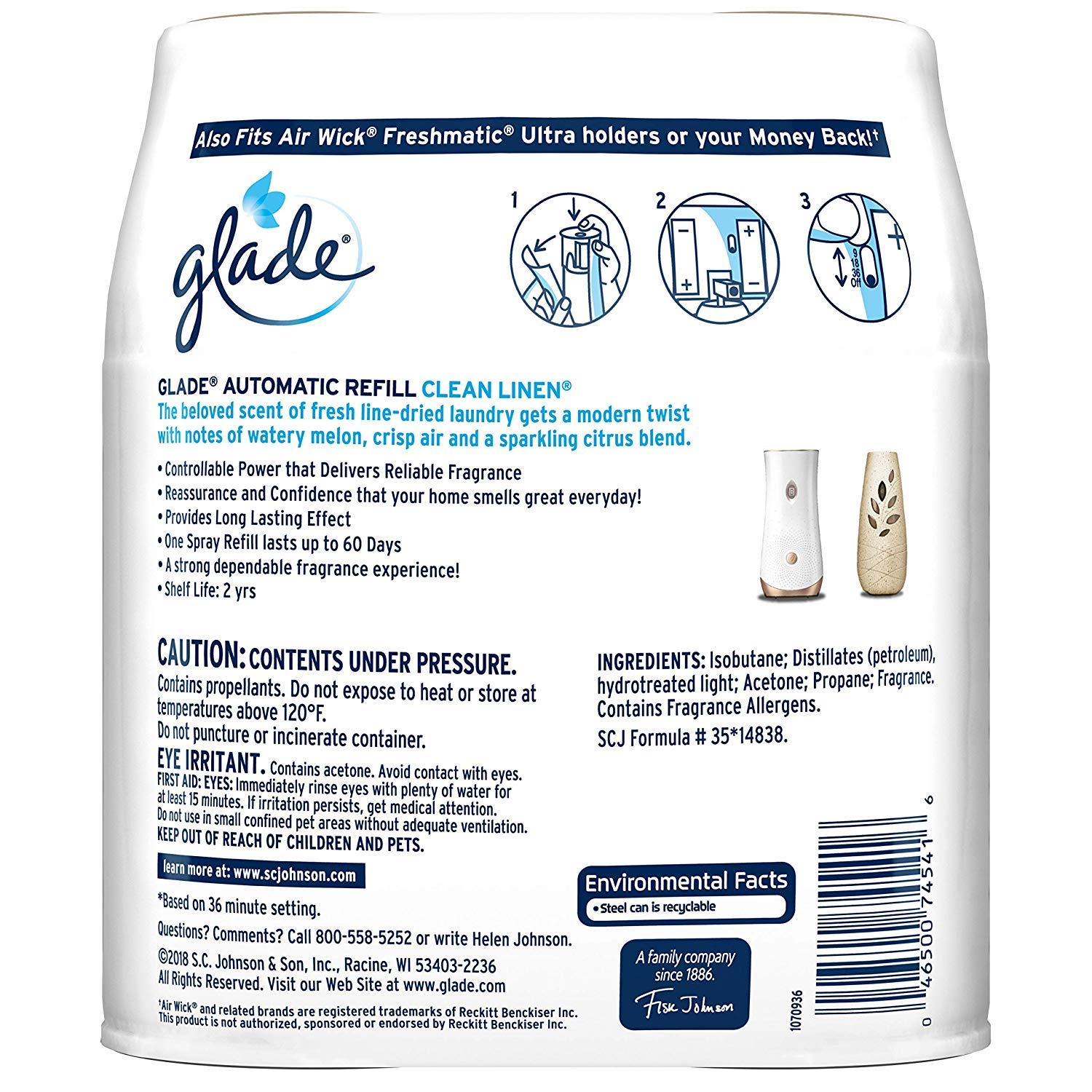 Glade Automatic Spray Air Freshener Refill, Clean Linen, 13 Refills, 12.4 oz + Free Gift - Productivity Planner - Attain Your Dreams! (13 Refills) by  (Image #2)