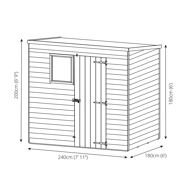 Waltons - Caseta de madera solapada (techo plano, 2, 44 x 1, 83 m): Amazon.es: Jardín