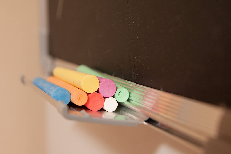 Kit Lavagna Ardesia 14 Gessetti e 2 Magneti 7 Colori Lavagnetta Magnetica Gesso 60x45cm con 1 Cancellino Magnetico Piccola Lavagna Nera da Muro per Messaggi