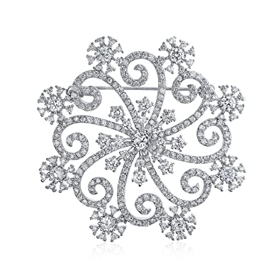 b00802b0d95 Amazon.com: Bling Jewelry Large Winter Swirl Holiday CZ Cubic Zirconia  Scarf Christmas Statement Snowflake Brooch Pin for Women Silver Plate  Brass: Brooches ...