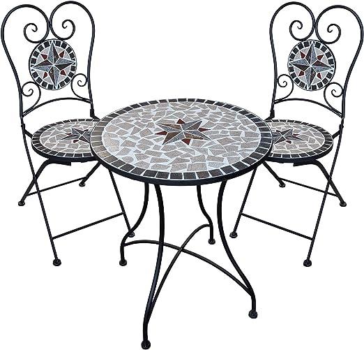 Dszapaci Set Da Giardino Con Tavolo A Mosaico E 2 Sedie Set Di Mobili Da Balcone E Balcone Con Sedie Amazon It Giardino E Giardinaggio