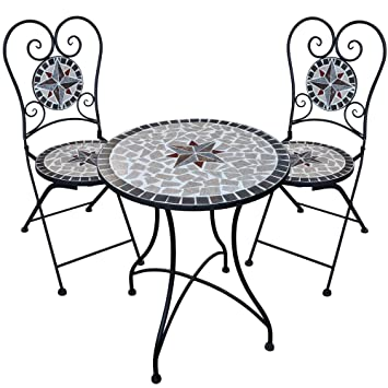 Dszapaci Salon de Jardin mosaïque avec 2 chaises et chaises ...