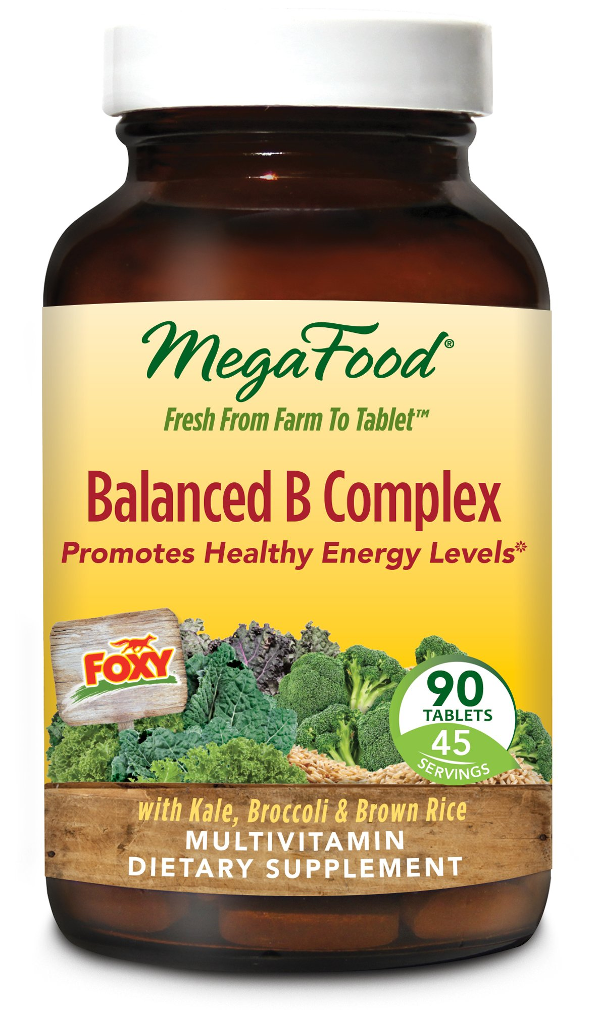 MegaFood - Balanced B Complex, Promotes Energy Production, Alertness, Cognition, Focus, and a Healthy Nervous System with B Vitamins, Folate, and Biotin, Vegan, Gluten-Free, Non-GMO, 90 Tablets (FFP)