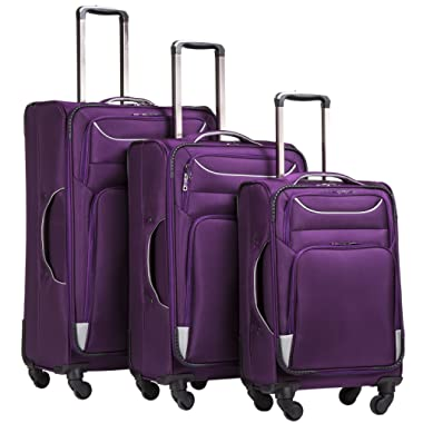 Coolife Luggage 3 Piece Set Suitcase Spinner Softshell lightweight (purple+sliver)
