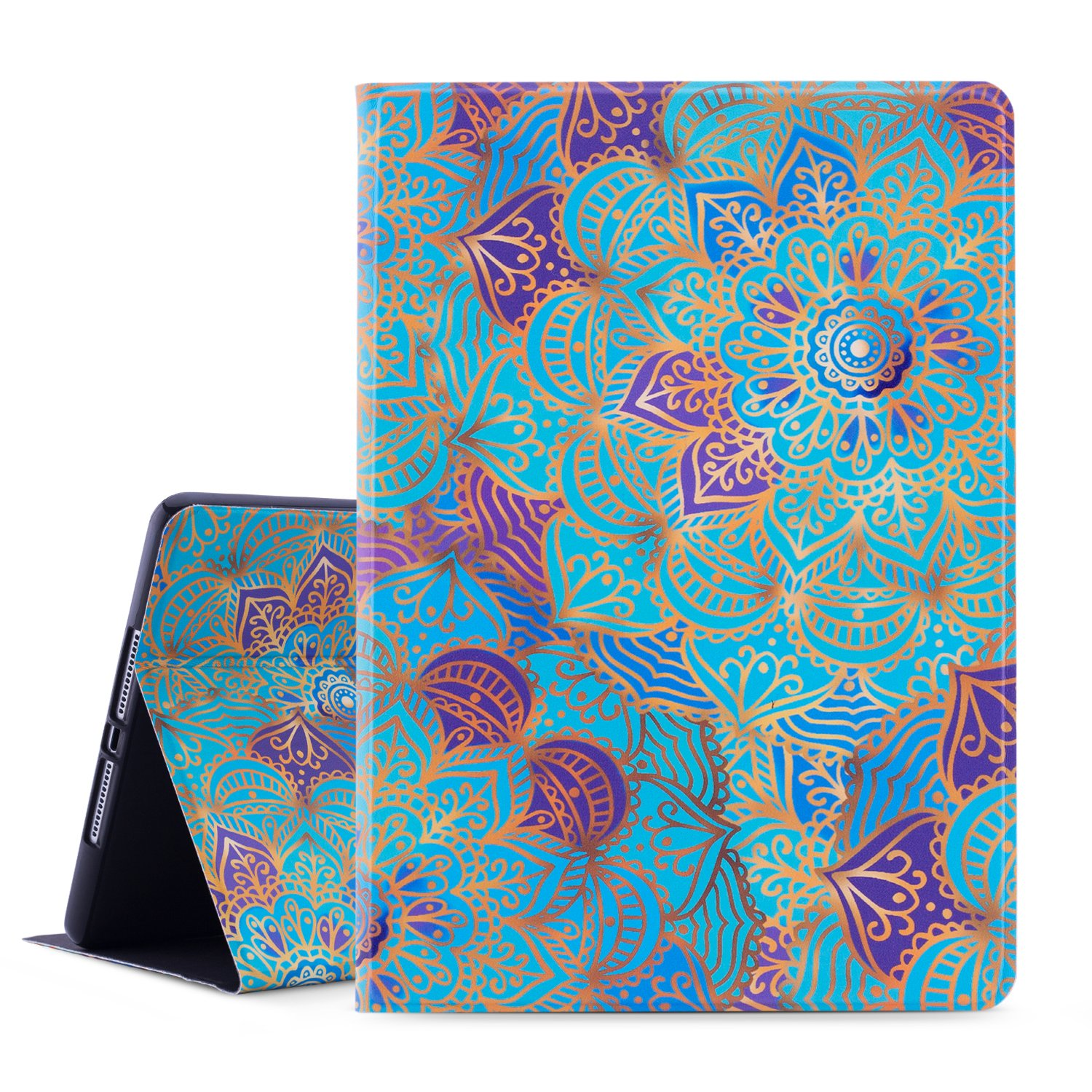 Dopup iPad 9.7 Case 2018/2017 iPad Case, Premium Leather Folio Case Cover for Apple iPad 5th 6th Generation, Multiple Viewing Angles Stand, Also Fits iPad Air 2/ iPad Air (Mysterious Mandara)