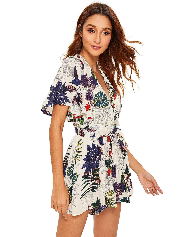 1dec1423a9 Amazon.com: SheIn Women's V Neck Floral Print Tie Waist Short Romper  Jumpsuit: Clothing