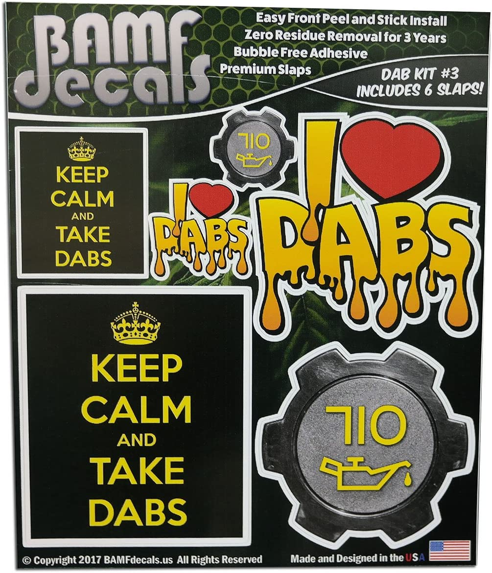 Bamfdecals Keep Calm and Take Dabs 710 Oil Cap I Heart Slap Pack Dab Kit No. 3 - Includes 6 Various Size Printed Stickers Single Sheet