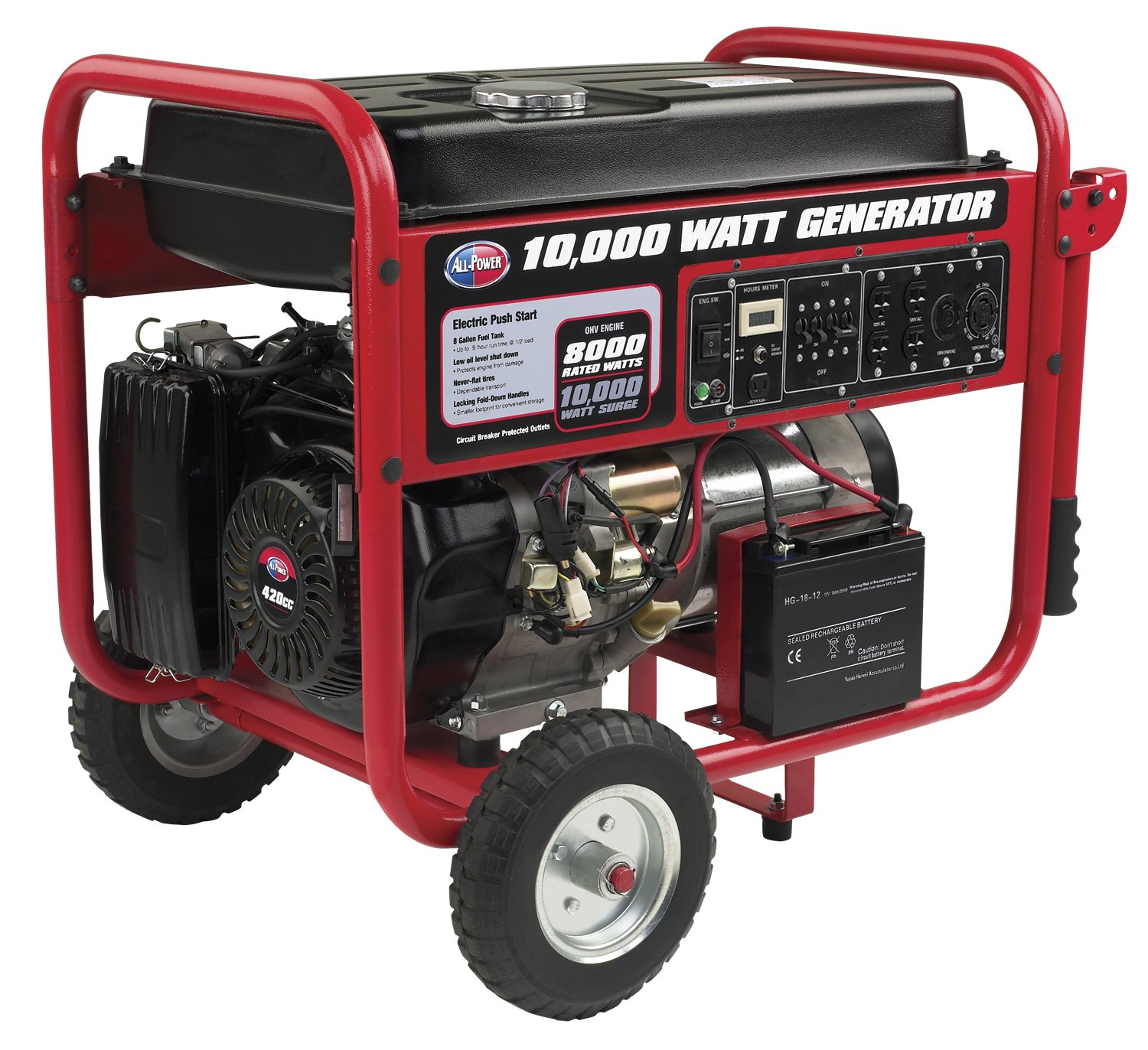 Amazon.com : All Power America APGG10000, 10000W Watt Generator with  Electric Start, Portable Gas Generator for Home Use Emergency Power Backup,  RV Standby, ...