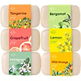 O Naturals 6 Piece Citrus Vitamin C & E Bar Soap Collection, Made with Organic Coconut & Olive Oil. Vegan, Triple Milled, Fresh Citrus Scents. Face, Hand & Body Wash. Gift Set. For Women & Men. 4 oz.