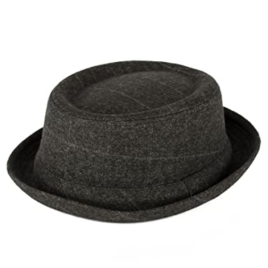 Men s Ladies Pork Pie Hat Overcheck Twill Tweed with Grey Band - Ash Grey  (59 431f4617e53