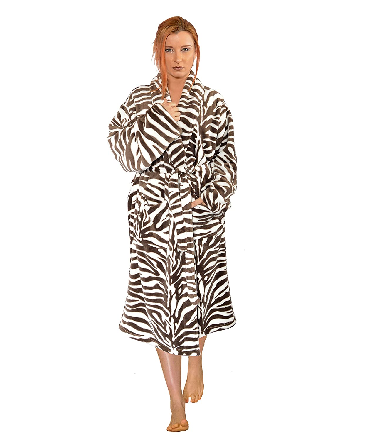 9deefe0391 Home soft things men women bathrobe printed microfiber flannel fleece cloth  robe light brown zebra home