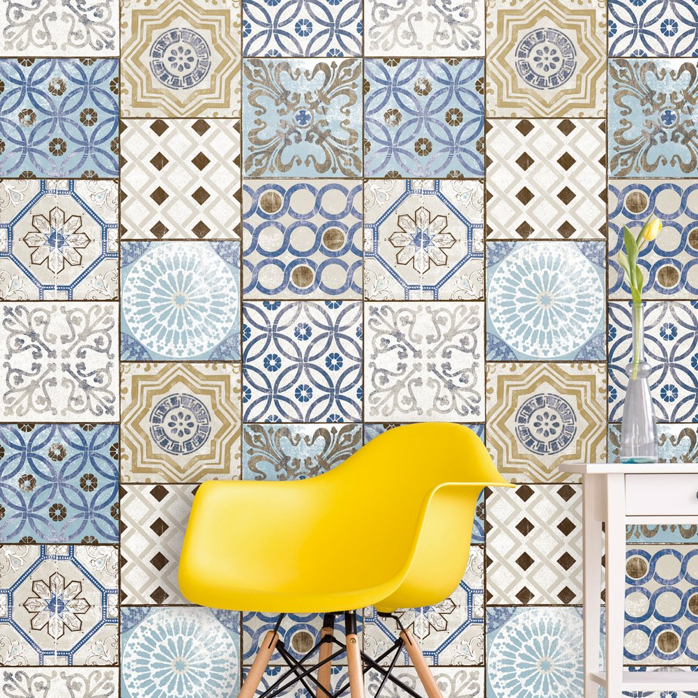3113 moroccan style mosaic wallpaper rolls vinyl tile wallpaper kitchen livingroom bathroom bedroom hotels wall decoration 20 8 x 32 8ft amazon com