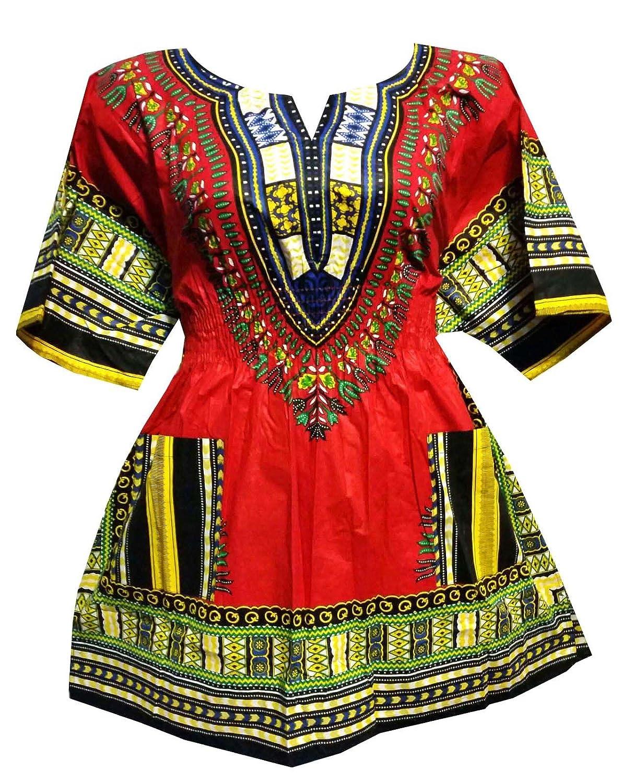 Womens Dashiki Dress Cotton Shirt Elastic Waist Traditional Wear Bright Colors 506385030860