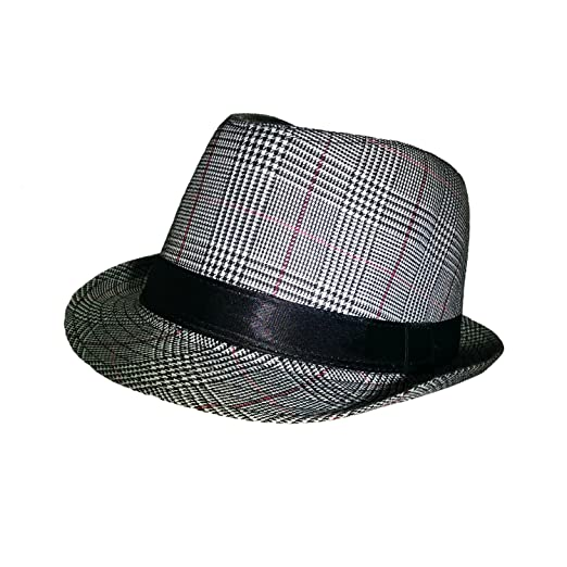 736b14690b8820 Image Unavailable. Image not available for. Color: Roaring 20's Adults Red  Black Plaid Gangster Fedora Derby Hat Costume Accessory