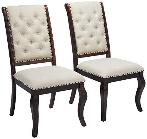 Glen Cove Dining Chairs with Button Tufting and Nailhead Trim Antique Java and Cream Set of 2