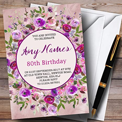 Image Unavailable Not Available For Color Pink Purple Watercolour Floral 80th Personalized Birthday Party Invitations