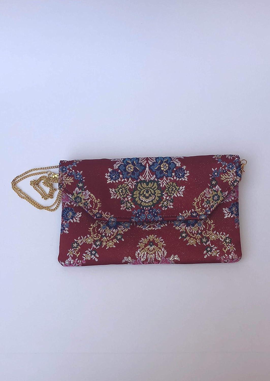 4839b4a3e Bolso Clutch/Sobre de tela fallera valenciana roja con estampado de flores  de colores.: Amazon.es: Handmade