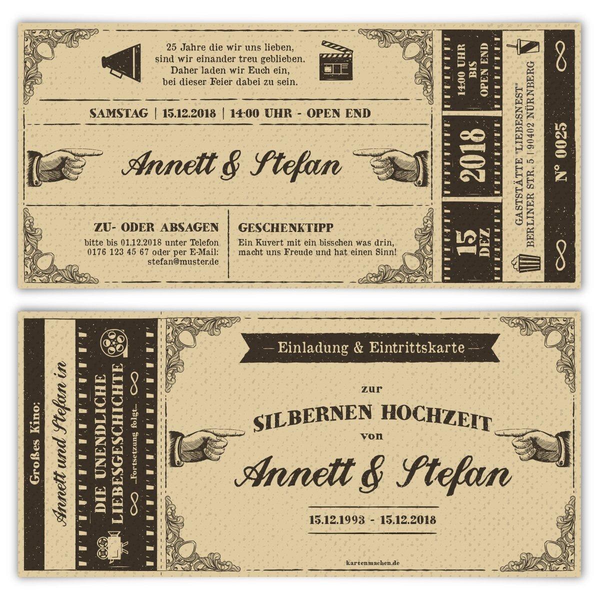 100 x Hochzeitseinladungen Goldhochzeit Goldene Hochzeit Einladung - Vintage Kinoticket B07G2M9FY1 | Professionelles Design  | Deutschland Store  | Hochwertige Materialien