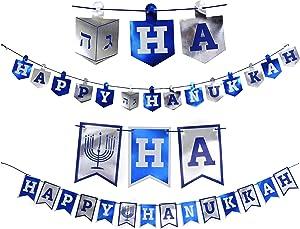 Happy Hanukkah Banner Chanukah Decorations, 2 Hannukah Banners - 5 Feet In Length