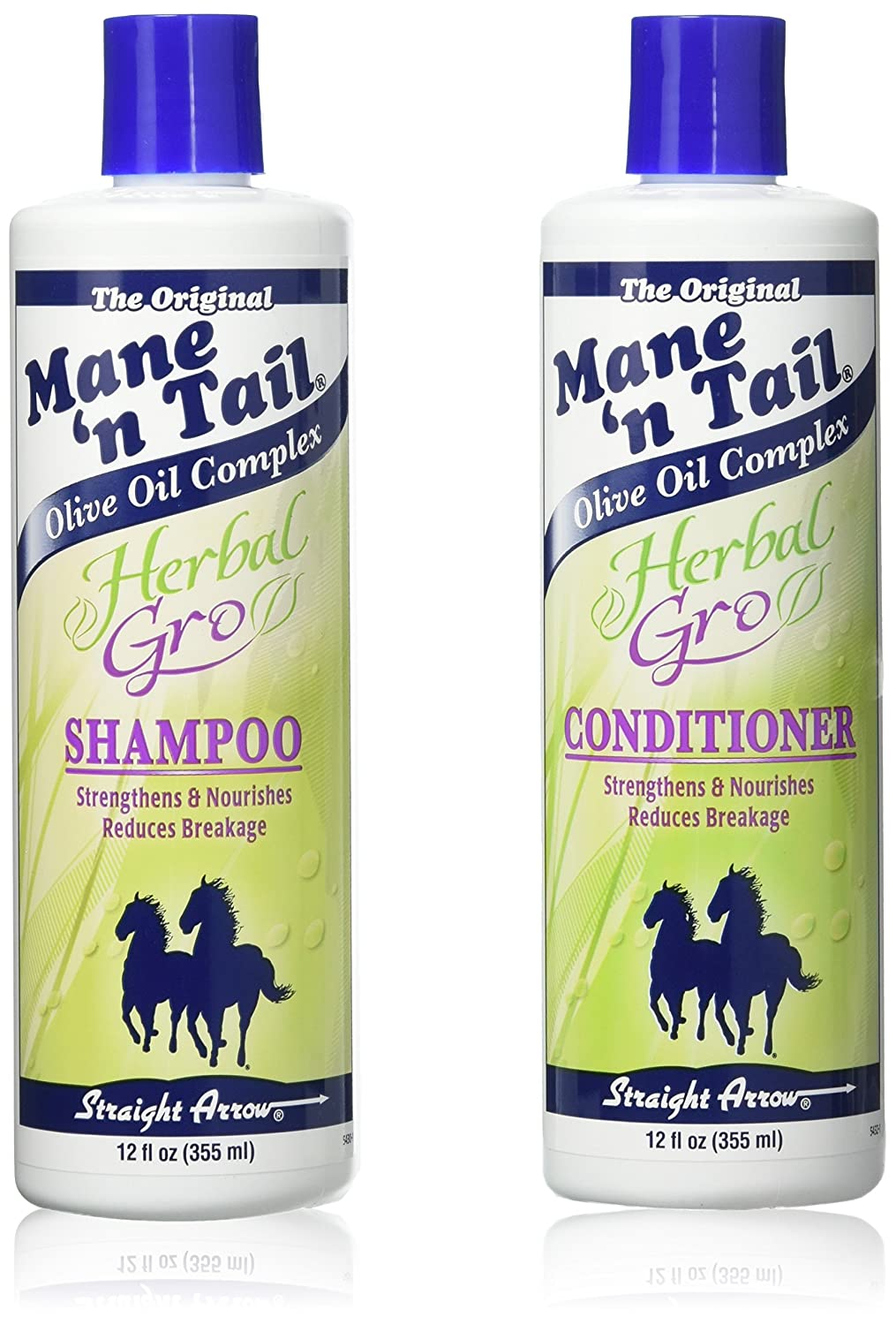 The Original Mane 'n Tail Olive Oil Complex – Herbal Gro Shampoo + Conditioner – Strengthens & Nourishes – Reduces Breakage – 12 Oz - 2-Pack Mane 'n Tail