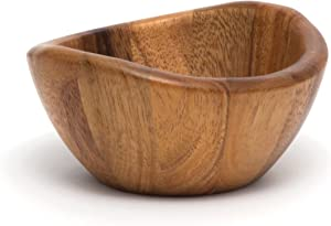 "Lipper International Acacia Wave Serving Bowl for Fruits or Salads, Small, 6"" Diameter x 3"" Height, Single Bowl"