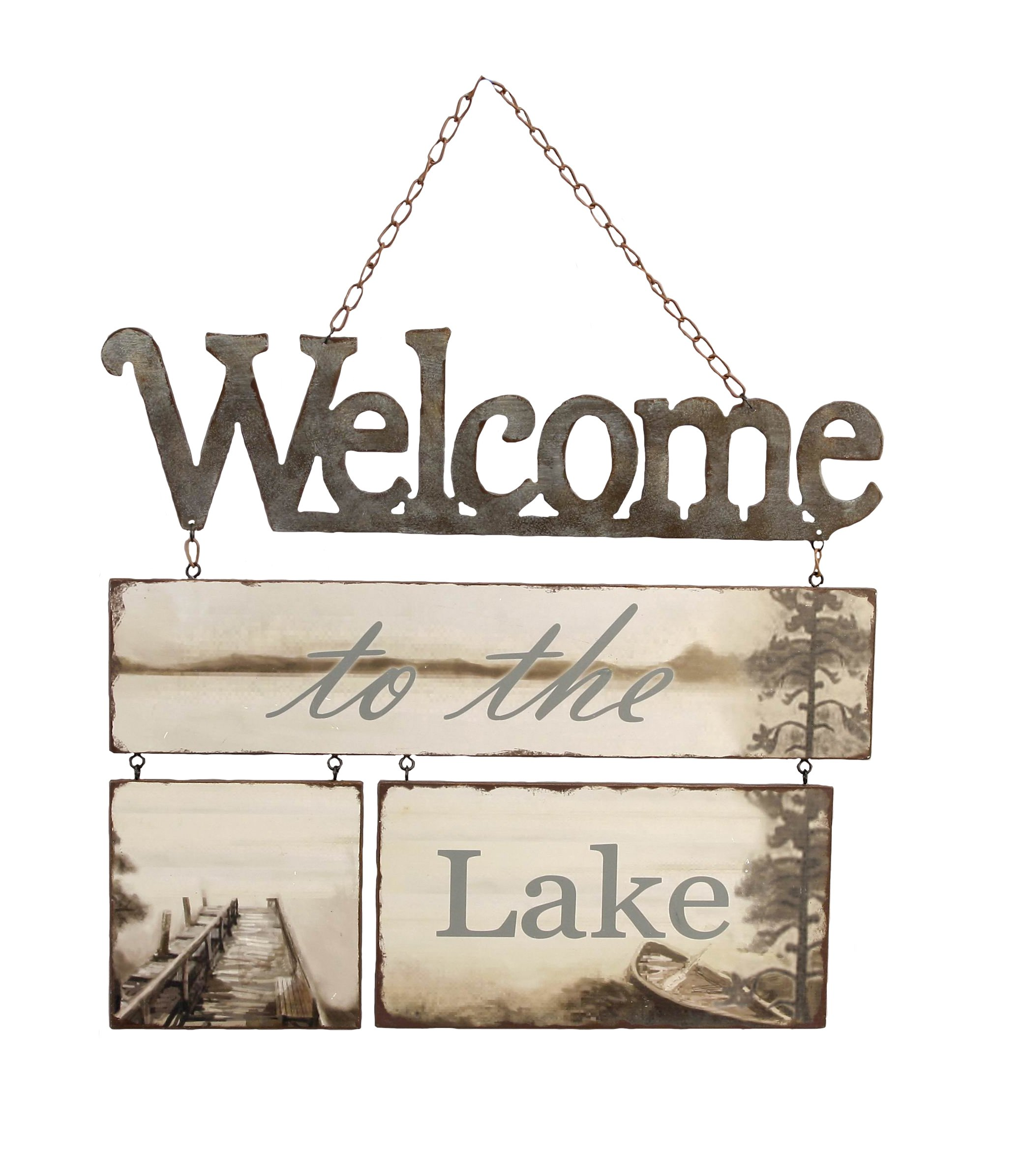 Young's 'Welcome to The Lake' Tin/Wood Wall Plaque, 16-Inch