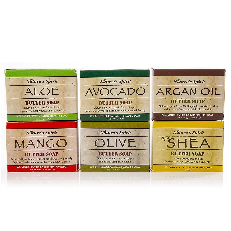 Nature's Spirit Butter Soap Collection - Includes Olive Oil, Avocado, Shea Butter, Mango Butter, Aloe Butter and Argan Butter - 5 ounce Each (6-Piece Set)