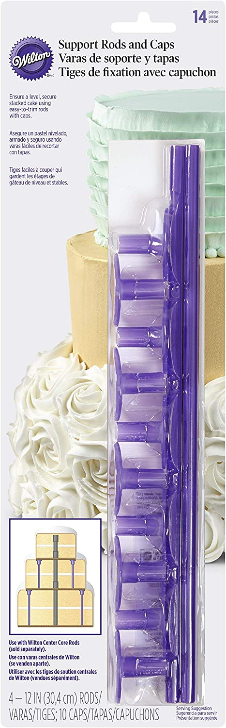 Set of 3 Plastic Center Wilton Plastic Support Dowel Rods and Caps 14 Pieces /& Dowel Rods for Tiered Cakes